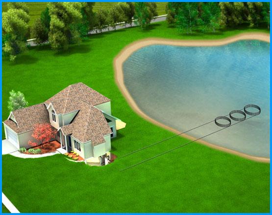 Pond Closed Loop Geothermal System